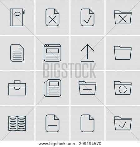 Editable Pack Of Document, Approve, Deleting Folder And Other Elements.  Vector Illustration Of 16 Office Icons.