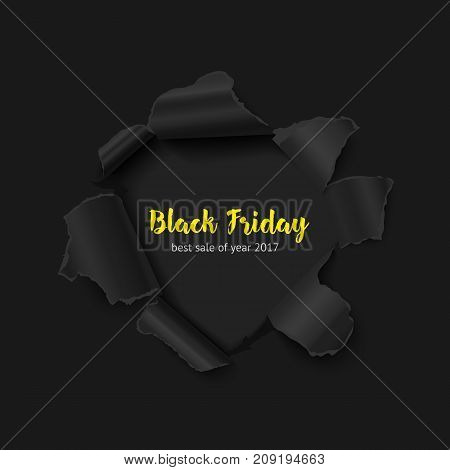 Black friday sale vector banner. Realistic illustration of black paper hole with dark background and text