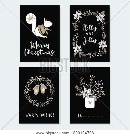 Set of cute Christmas greeting cards, invitations with squirrel, wreath glowes and winter flowers. Hand drawn illustrations. Flat design with black background.