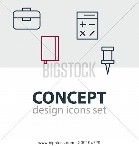 Editable Pack Of Portfolio, Copybook, Calculate And Other Elements.  Vector Illustration Of 4 Tools Icons.