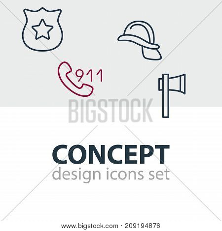 Editable Pack Of Badge, Ax, Hotline And Other Elements.  Vector Illustration Of 4 Necessity Icons.