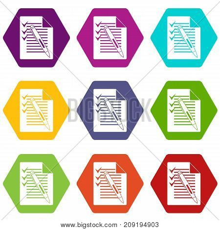 Document with plan and pen icon set many color hexahedron isolated on white vector illustration