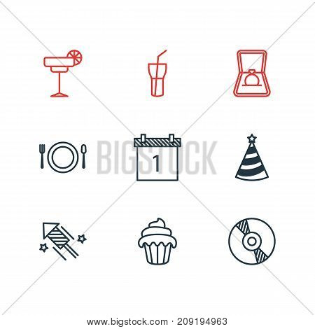 Editable Pack Of Cutlery, Cupcake, Engagement And Other Elements.  Vector Illustration Of 9 Feast Icons.