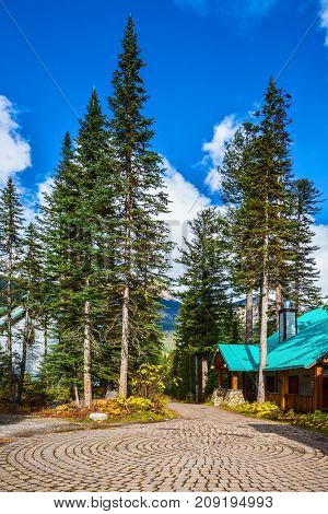 Yoho National Park, Canada. Camping at Lake Emerald. The concept of eco-tourism