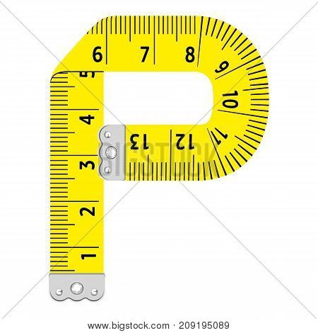 Letter p ruler icon. Cartoon illustration of letter p ruler vector icon for web