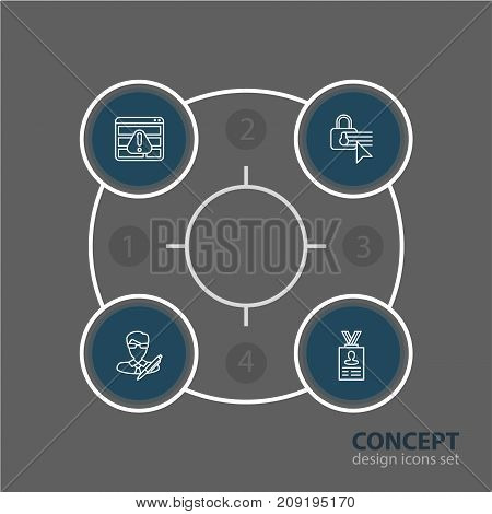 Editable Pack Of Account Data, Browser Warning, Copyright And Other Elements.  Vector Illustration Of 4 Security Icons.