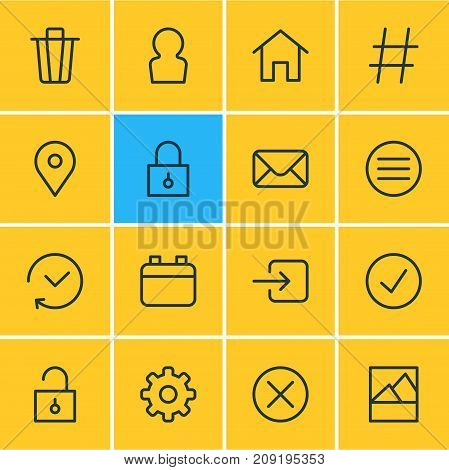 Editable Pack Of Garbage Container, Topic, Padlock And Other Elements.  Vector Illustration Of 16 Annex Icons.