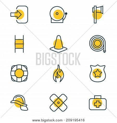 Editable Pack Of Siren, Hardhat, Badge And Other Elements.  Vector Illustration Of 12 Extra Icons.