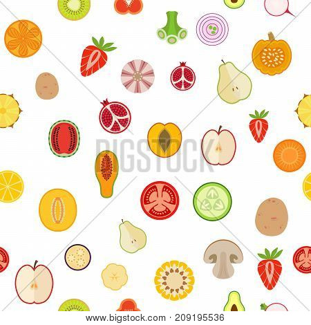 Seamless background with fruits and vegetables on white background. Flat design. Vector illustration.