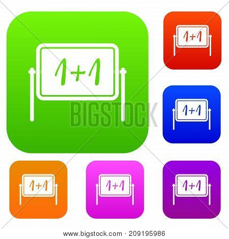 Board set icon color in flat style isolated on white. Collection sings vector illustration