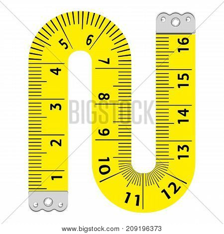 Letter n ruler icon. Cartoon illustration of letter n ruler vector icon for web