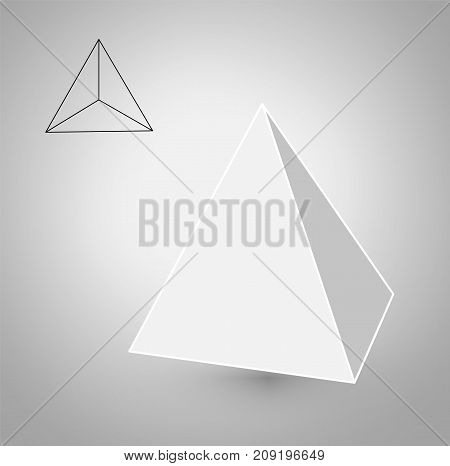 Tetrahedron is a geometric figure. Hipster Fashion minimalist design.Platonic solids. Tetrahedron flat design vector illustrations, thin line art. Vector illustration.