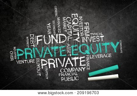 Handwritten Private Equity concept on a chalkboard with a word tag cloud of associated financial words with central large green text - Private Equity