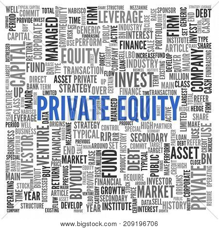 Private Equity financial asset concept with a word cloud of associated tags in random orientation in a full frame background with central blue text