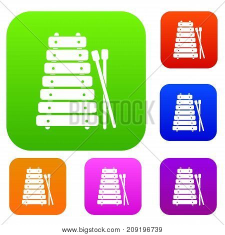 Xylophone and sticks set icon color in flat style isolated on white. Collection sings vector illustration