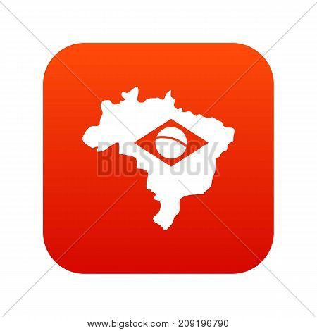 Brazil map with flag icon digital red for any design isolated on white vector illustration