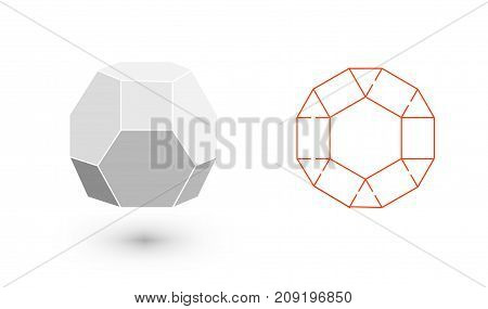 Truncated octahedron is a geometric figure. Hipster Fashion minimalist design. Film solid bodies. Truncated octahedron flat design vector illustration, fine art line. Vector illustration.