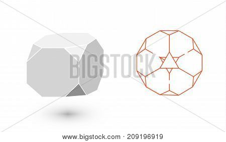 Truncated Cube is a geometric figure. Hipster Fashion minimalist design. Film solid bodies. Truncated Cube flat design vector illustration, fine art line. Vector illustration.