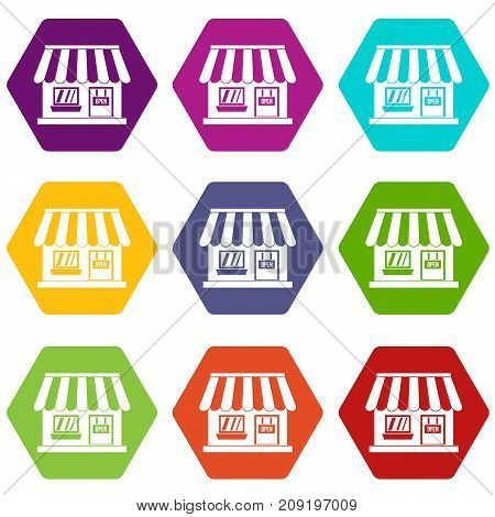 Shop icon set many color hexahedron isolated on white vector illustration