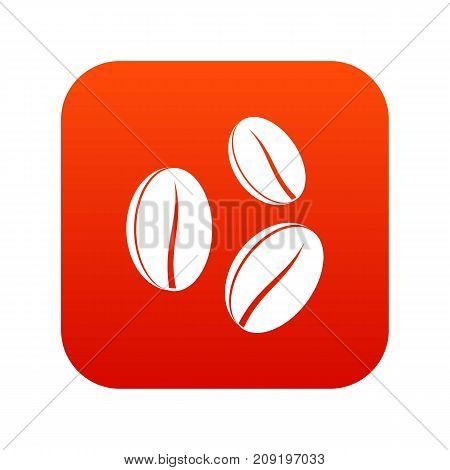 Coffee beans icon digital red for any design isolated on white vector illustration