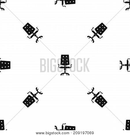Office chair pattern repeat seamless in black color for any design. Vector geometric illustration