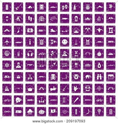 100 adventure icons set in grunge style purple color isolated on white background vector illustration