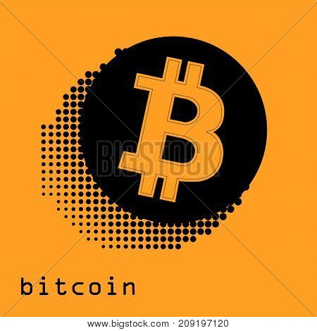 Bitcoin gold coin of crypto currency isolated on white background. Block sticker for bitocones for web pages or printing. Logo bitcoins .
