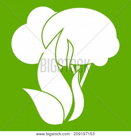Burning forest trees icon white isolated on green background. Vector illustration