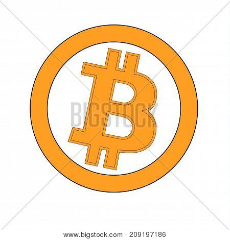Bitcoin gold coin of crypto currency isolated on white background. Block sticker for bitocones for web pages or printing. Logo bitcoins .Vector illustration.