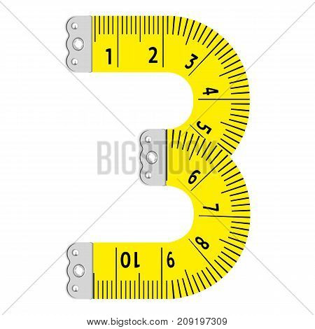 Number three icon. Cartoon illustration of number three ruler vector icon for web