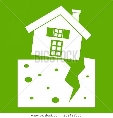House after an earthquake icon white isolated on green background. Vector illustration