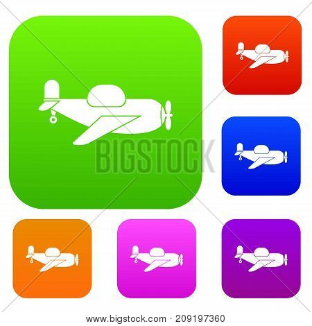 Toy plane set icon color in flat style isolated on white. Collection sings vector illustration