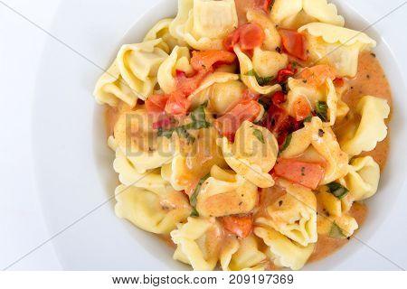 tortellinis pasta in tomato sauce closeup over white background