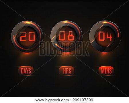 Glass Counter Timer. Countdown Website Vector Template Digital Clock Timer Background. Transparent V