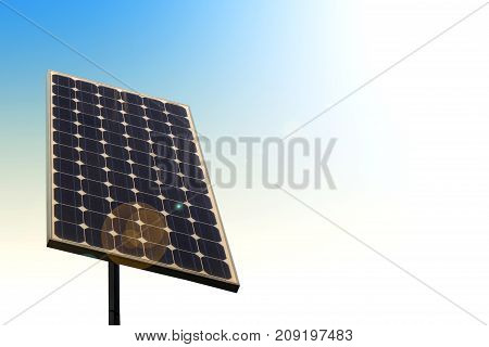 Isolated small solar panel renewable energy close up
