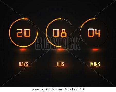 Counter Timer. Countdown Website Vector Template Digital Clock Timer Background. Neon Glow On A Dark