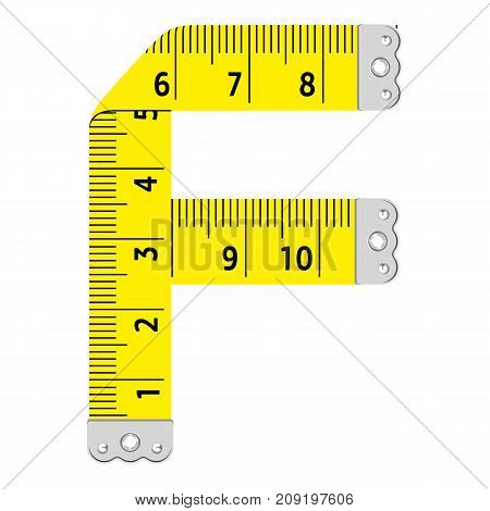 Letter f ruler icon. Cartoon illustration of letter f ruler vector icon for web