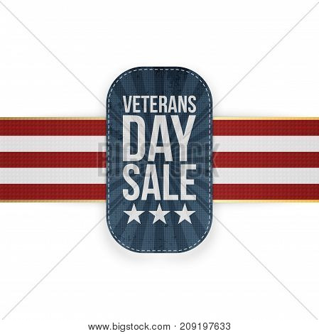 Veterans Day Sale blue Badge with striped Ribbon. Vector Illustration
