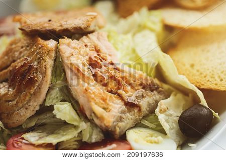 Fried fish with vegetables and bread. Food concept. Macro image.