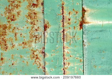 Grunge Green Rusty Metal Texture. Vintage Effect.