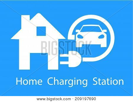 Charging for electric cars for home. Logo Road sign template of electric vehicle. Vector illustration of a minimalistic flat design