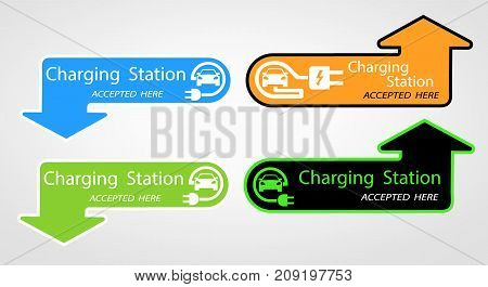 Charging for electric cars for home. the pointer where is located. Logo Road sign template of electric vehicle. Vector illustration of a minimalistic flat design.