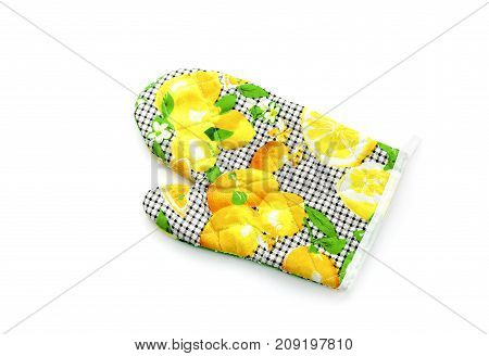 The kitchen mitten potholder for hot tableware on a white background closeup