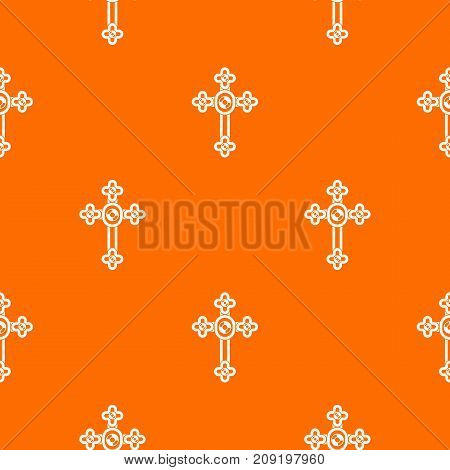 Cross with diamonds pattern repeat seamless in orange color for any design. Vector geometric illustration