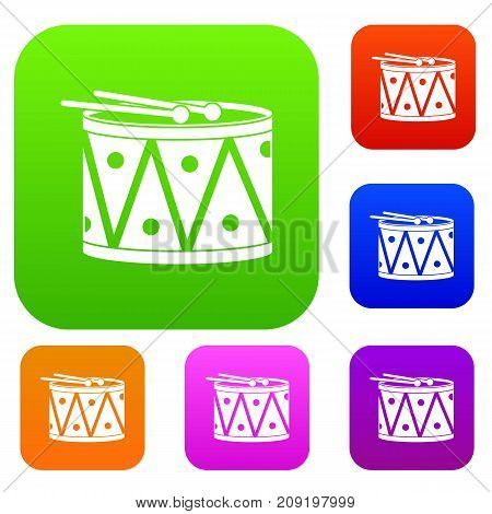 Drum and drumsticks set icon color in flat style isolated on white. Collection sings vector illustration