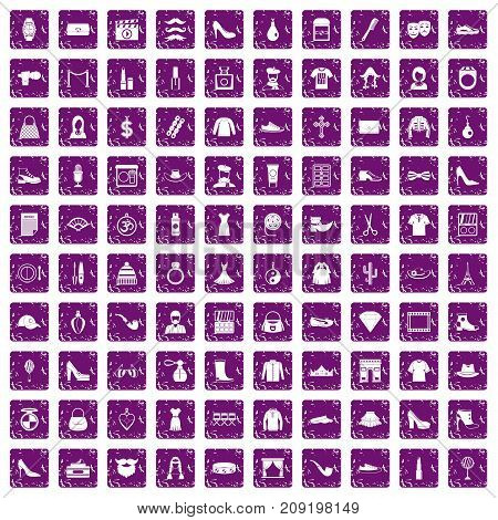 100 stylist icons set in grunge style purple color isolated on white background vector illustration