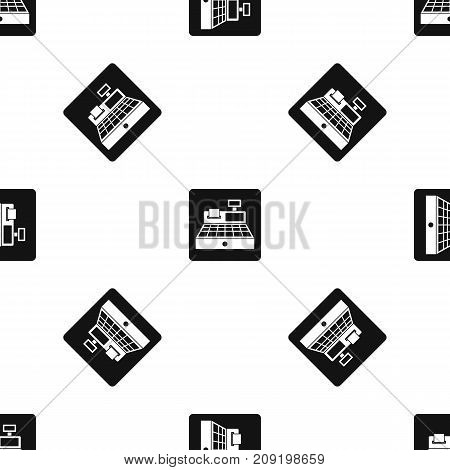 Sale cash register pattern repeat seamless in black color for any design. Vector geometric illustration