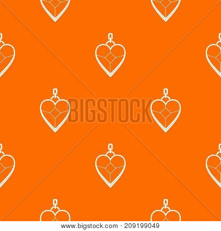 Heart shaped pendant pattern repeat seamless in orange color for any design. Vector geometric illustration