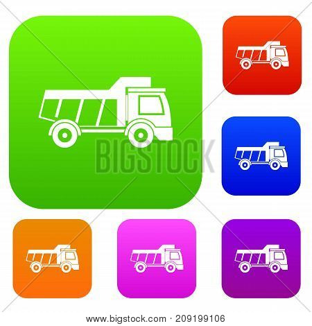 Toy truck set icon color in flat style isolated on white. Collection sings vector illustration