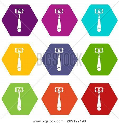 Selfie stick with mobile phone icon set many color hexahedron isolated on white vector illustration